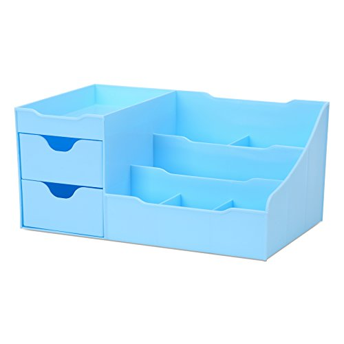 Uncluttered Designs Make-up Organizer Mit Schubladen (2 Schublade, Blau)
