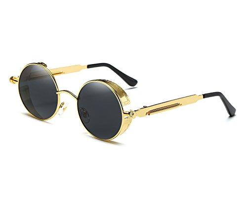 Red Peony Runde Steampunk Polarisierte Sonnenbrille Metall Rand Rahmen Flip up Linse für Herren Damen UV400 (B/Gold/Schwarz, Polarisiert)