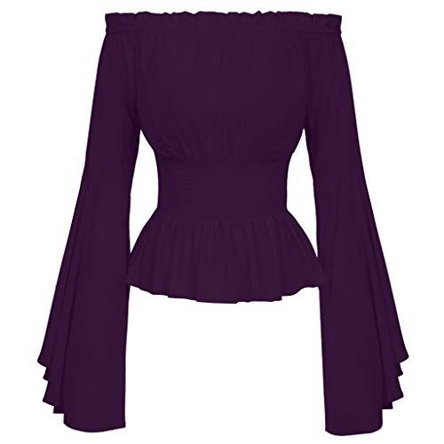 Elsta Damen Mittelalter Bluse T-Shirt Gewand Frauen Renaissance Mittelalterlichen Gotischen Viktorianischen Glockenärmel Schulterfrei Bodies Tops