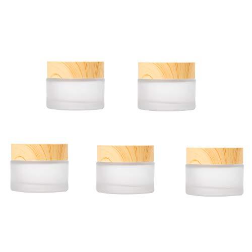 Schneespitze 5 Pcs Frasco De Crema Facial De Vidrio,Ollas De Crema para La Cara Vacías Textura De Madera Tapa,Esmerilado Tarros De Crema Recipientes VacíOs para CosméTicos