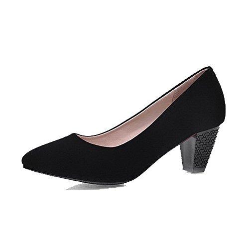 VogueZone009 Femme Tire Fermeture D'Orteil Pointu à Talon Correct Couleur Unie Chaussures Légeres Noir