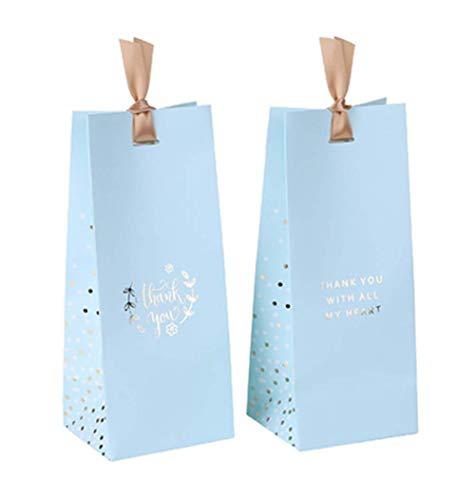 glasstore 10 Stück Süßigkeiten-Boxen kleine Geschenktüte Verpackung einfache Geschenk-Box Elegante Papiertüte für dekorative Box mit Schleife blau