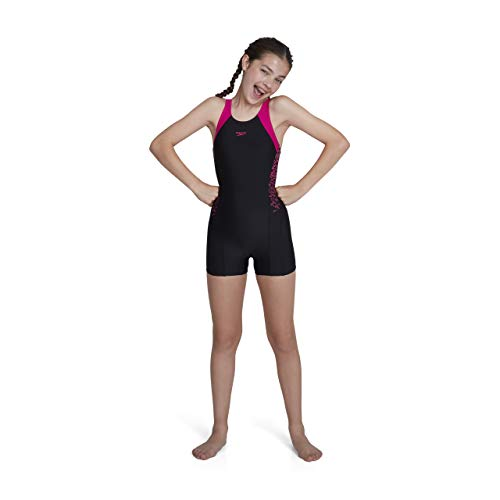 Speedo Mädchen Boom Splice Legsuit Swimwear, Black/Electric Pink, 152