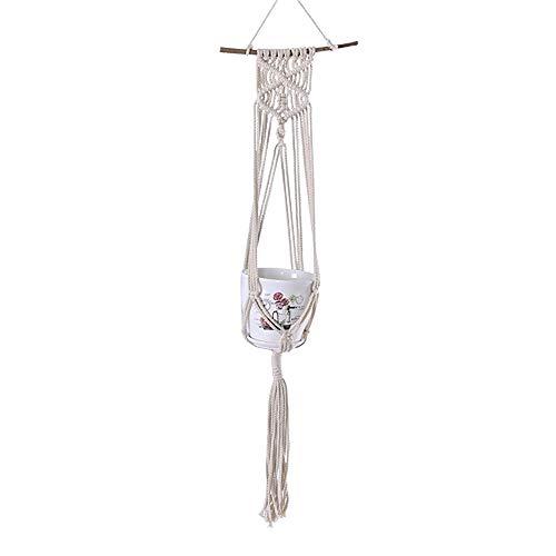 YANGMAN Plante macramé Hanger, Usine de Fleur Manique Corde de Coton Suspendu Planteur Panier, avec 20 cm de bâton en Bois, Décoration d'intérieur pour l'extérieur Balcon, 85 cm de Long,1pcs