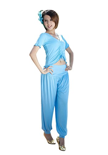ZhiYuanAN Femmes 2Pcs Costume de danse du ventre Vêtements de yoga costume Tops & Culotte Bouffante Ensemble Lake Bleu