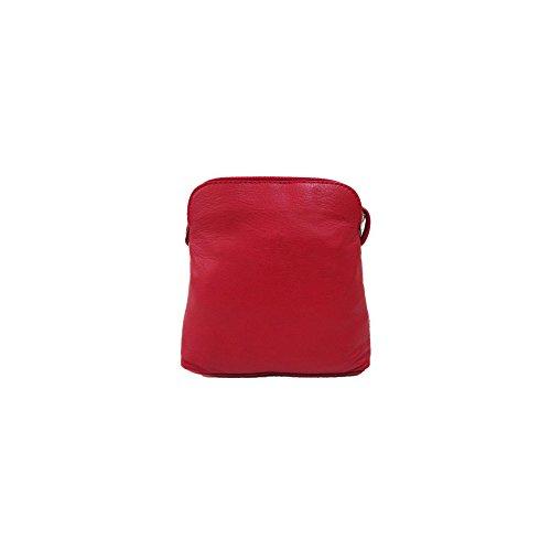 Vera italiana piccolo in morbida pelle croce corpo borsa a tracolla borsetta, Light Taupe (Multicolore) - PS49 Red