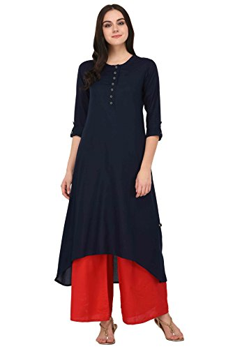 Pistaa Navy Blue Solid High Low Hem Kurta With Plus Size