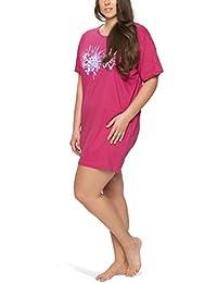 Damen Nachthemd Kurzarm mit Rundhals-Ausschnitt in großen Größen - Moonline Plus