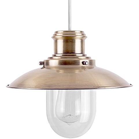 MiniSun – Moderna pantalla para lámpara de techo de estilo pescador en latón y cristal