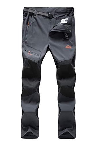 DENGBOSN Pantaloni da Escursionismo Uomo Arrampicata Viaggio Trekking Estate Camping Antivento Traspiranti Sportiva Outdoor (L, A Grigio)