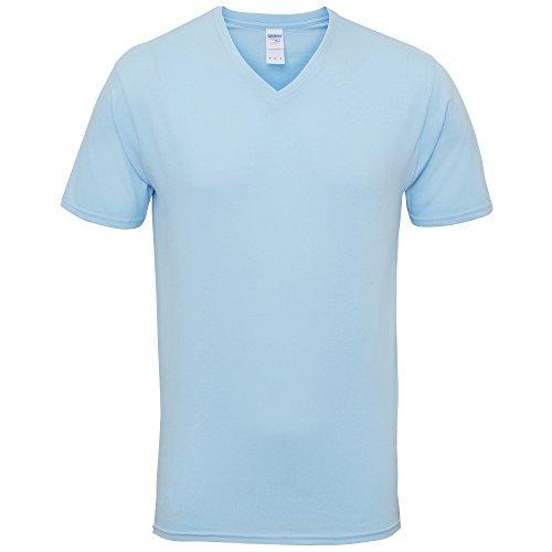 Gildan Herren Premium T-Shirt mit V-Ausschnitt, kurzärmlig (Large) (Hellblau)