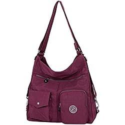 NOTAG Bolsos de Mujer, Impermeable Nylon Bolso Bandolera Multifuncional Mochilas Bolso Hombro Shopper (Vino rojo)