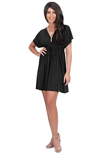 koh-kohr-femmes-petite-menue-robe-mini-col-v-manches-kimono-soleil-cafetan-kaftan-couleur-noir-taill
