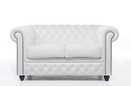 Original Chesterfield Sofa – 2 / 2 Sitzer – Vollständig Handgewaschenes Leder – weiß