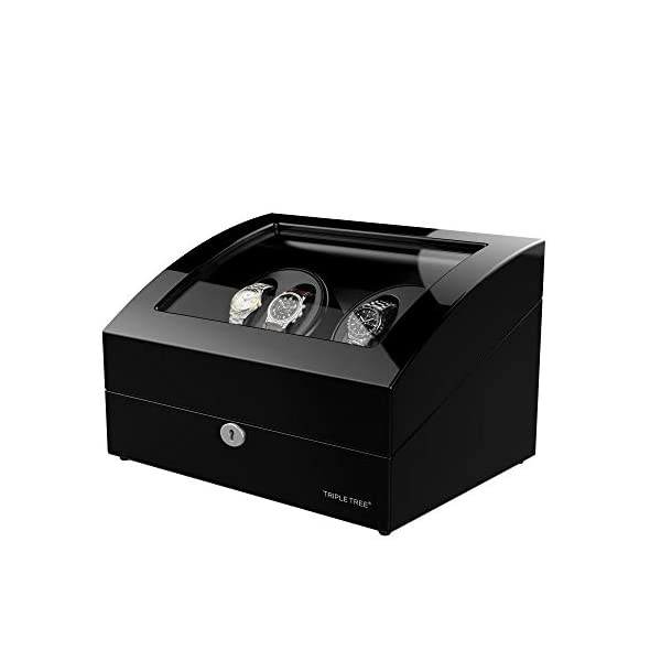 Automatic Watch Winder Box with 4 winder positions, 6 storage spaces, 4 modes, Wood Shell, Piano Paint Black Gloss 31Uikiue6bL