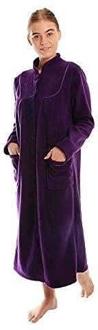 femmes CHAUDE POLAIRE MANCHES LONGUES & bouton poches devant souple Robe de chambre veste - Prune, 14 / 16