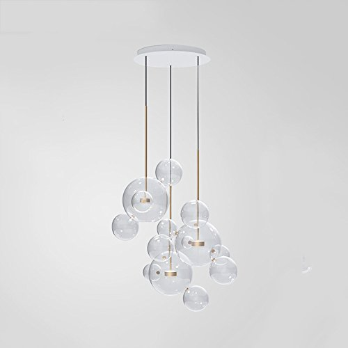 Xspwxn Industrielle moderne Vintage Loft Bar Edison LED Decke Pendelleuchten Cluster Multi-Lichter Kronleuchter Glas Lampenschirm für hängende Leuchte für Wohnzimmer Esszimmer Schlafzimmer Büro ( Size : Style D ) (Französisch Glas-kristall-kronleuchter)