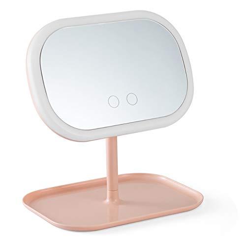 JFya LED-beleuchteter Spiegel, 3 Arten der Lichtfarbeneinstellung, USB-Lade- und Berührungssensor, Drehwinkel, übergroßes Ablagefach, tragbarer Kosmetikspiegel (pink) (Color : Pink) (Oben Und Unten Falsche Wimpern)