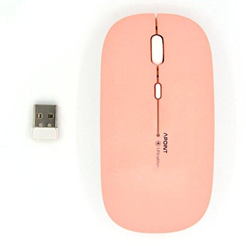 SEARCHALL T3 Ultradünne 2,4 GHz Drahtlose Optische Maus mit 4 Geräuschlosen Tasten für Windows und Mac (Rosa)