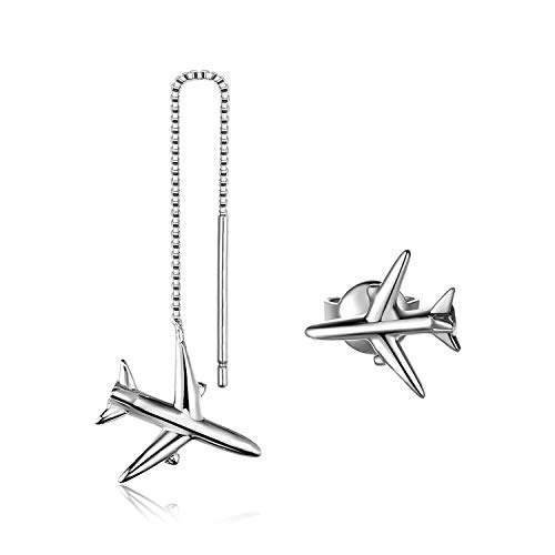 Jewelrypalace 925 Sterling Silber asymmetrische Flugzeug Faden Piercing Ohrringe
