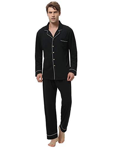 Aibrou Herren Baumwolle Pyjama Set, Einfarbiger Zweiteiliger Schlafanzug Langarm Shirt und Pyjamahose Schwarz XL -