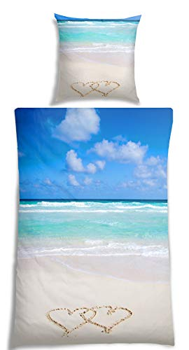 Home Bettwäsche (VS Home Renforcé Bettwäsche Strand, Größe:135 x 200 cm + 80 x 80 cm)