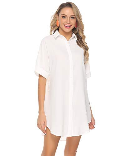 Abollria Damen Chiffon Hemdblusenkleid Fließende Longbluse Casual Leicht Sommerkleid mit Abnehmbar Bindeband,Weiß,XXL