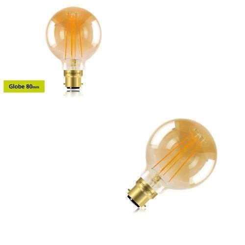 Integral 5W = 40W LED Sunset Vintage 1800K 380Lumen BC B22Bajonettsockel dimmbar 80mm Globe Lampe Integral Led