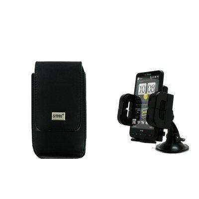 EMPIRE HTC EVO Shift 4G / DROID Incredible / DROID Incredible 2 / Surround / Arrive / 7 Pro / Inspire 4G Schwarz Vertical Leather Leder Case Tasche Hülle Pouch + Adjustable Auto Windschutzscheibe Berg