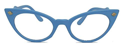 50er Jahre Katzenaugen Brille Cat Eye Modell Klarglas Mode-Brille oder Sonnenbrille C95 (Hellblau)