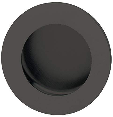 Gedotec Design Muschelgriff versenkt Schiebetürgriff rund - LADY BLACK | Griffschale Ø 60 mm | Einlassgriff Edelstahl PVD schwarz matt | Griffmuschel zum Einlassen | 1 Stück - Möbelgriff Schiebetür