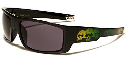 be8555a9a5e New Locs Rectangle Style - Black or White Frame with Skull Design and Dark  Lenses - SDK SUNGLASSES - 100% UV400 UVA UVB Protection - Men Women Unisex  ...