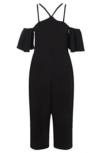Noir Femmes Roise Combinaison Jupe-culotte Ouverte Aux Épaules Noir