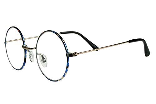 Lesebrillen Damen Herren Blau Schwarz Weiß glänzend gepunkted große runde Gläser dünner Metallrahmen leicht schmale Bügel Lesehilfe 1.0 1.5 2.0 2.5 3.0 3.5 mit Etui, Dioptrien:Dioptrien 2.0