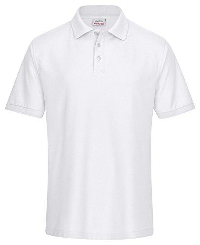 CaptainWorkwear Poloshirt Piqué Unisex für Damen und Herren - Kurzarm T-Shirt einfarbig ? Weiß 2XL (Jersey-weiß Polo-shirt)