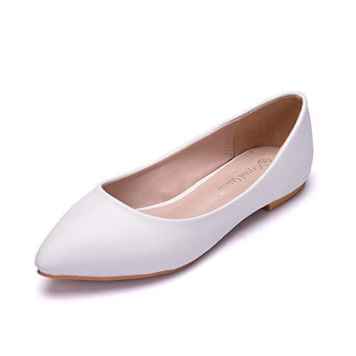 Moojm donne ballerine casual sandali tacco basso scarpe da sposa punta scarpe da sposa,white,eu43
