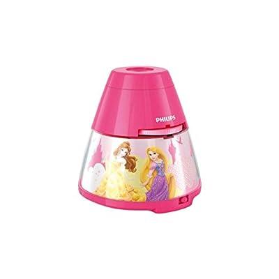 Philips Disney Princesas - Proyector y luz nocturna 2 en 1, luz blanca cálida, bombilla LED de 0.3 W, color rosa