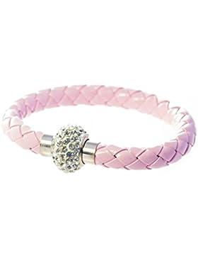 black-yard Kinder Armband aus PU Leder rosa mit Kristall, 17 cm