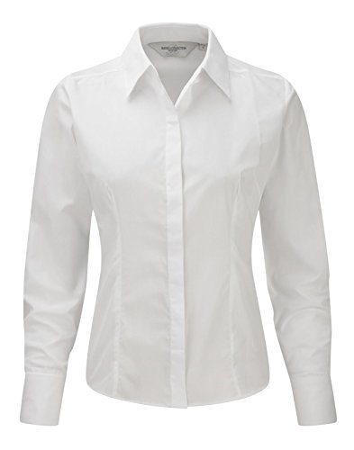 Russell Collection Women's Fitted Poplin Long Sleeve Shirt Blanc