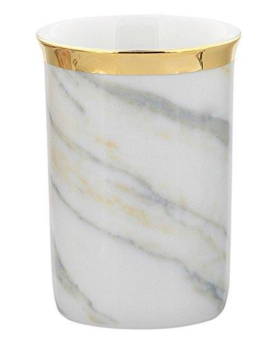 Zahnputz-Becher aus Porzellan Marmor Dekor 18 Karat vergoldet Goldrand, Kosmetex Bad Accessoires Mundbecher Dekor Porzellan