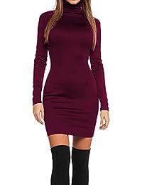 2019 Populaire Robe Aux Femmes Sexy Couleur Unie Serrée À Manches Longues  Zipper Collants La Mode 1507bf4957b9