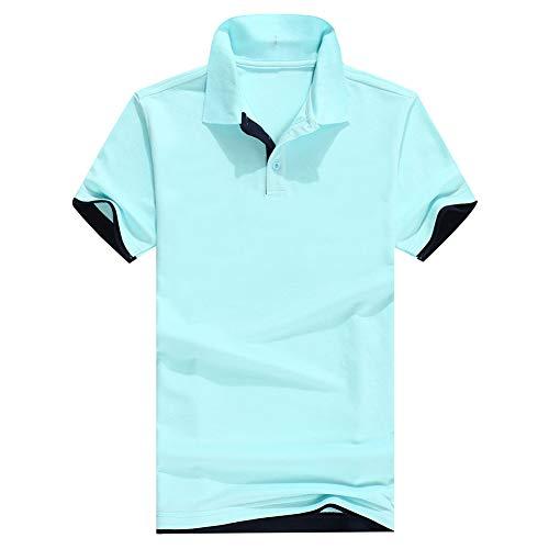 obiqngwi Mode Polo Manche Courte Homme Casual Color Block Bouton T-shirt à manches courtes et col droit Light Blue L