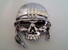 Emblema adhesivo decorativo, diseño 3D de calavera con auriculares