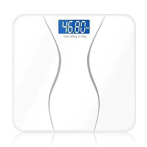 LKSDD Elektronische Waage, 180 kg, große Tragfähigkeit, LCD-Flüssigkristallanzeige (blau), 4 mm, explosionsgeschütztes gehärtetes Glas, intelligenter automatischer Startbetrieb (280 * 280),White -