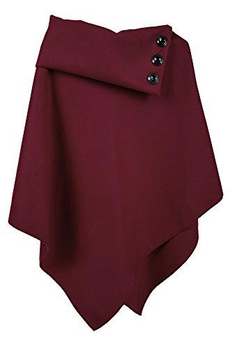 jowiha® Damen Poncho mit Stehkragen und Knöpfen in Schwarz Beige Anthrazit Rot Blau Bordeaux Einheitsgröße S/M/L (Bordeaux)