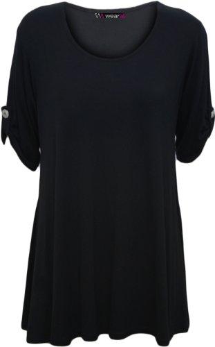 Womens Plus Size Scoop Neck Short Sleeve Flared Ladies Long Plain Top Sizes 14 - 28