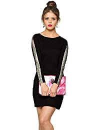 Miss Chase Women's Designer Super Soft Full-Sleeve Mini Bodycon Dress with Sequin Strip on The Sleeves | 4 Colors