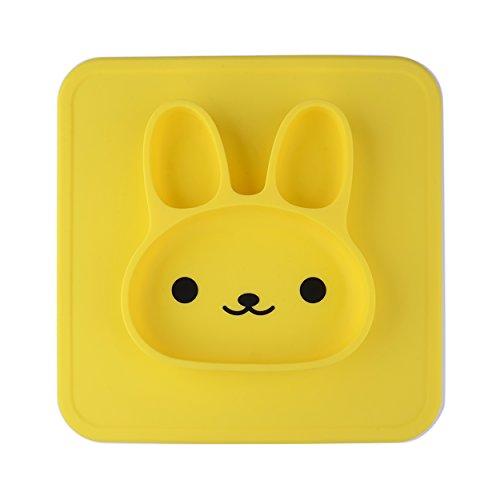 NUUR 100% LFGB Lebensmittelqualität Silikon Material ungiftig Baby Tischset Kaninchen geformt Essen Platte für Kinder Gelb