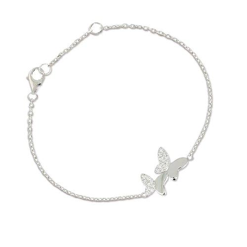 Eliot EternityArmband DamenZwei Schmetterlinge 925er Sterling-Silber Zirkonia 19°cm 50213Z (Schmetterling Armband)