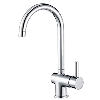Hapilife Kitchen Tap Single Lever Sink Mixer Monobloc Tap Swivel Spout Chrome